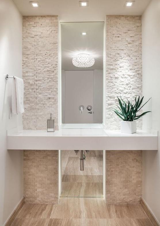 biały kamień do łazienki